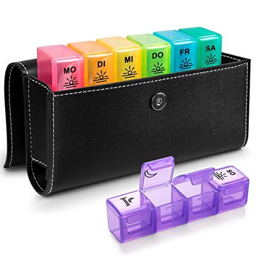Tablettenbox 7 Tage Deutsch - BUG HULL Medikamentenbox Pillendose Morgens Mittags Abends Reise mit PU Leder (Tablettenbox 7 Tage 4 Fächer)
