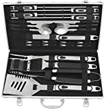 grilljoy 25 pc Set di Attrezzi per Barbecue-Accessori per Barbecue in Acciaio Inossidabile...