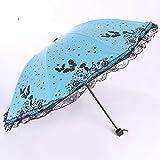 YZMBYUSAN Regenschirm Kreative Damen Schmetterling Fliegen 24 cm Mini Acht Knochen DREI Falten Regenschirm Schlagen Tuch Sonnencreme Regen Und Regen Dual-Use -