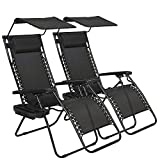 Zero Gravity Chair, Outdoor Folding Adjustable Lounge Chair Chaise 250LBS Weight Capacity Recliner Chairs with Cup Holder and Canopy Shade for Patio, Pool, Beach, Lawn, Deck, Yard - Set of 2 - Black