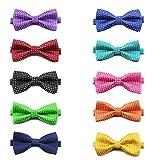 Gogo Paquete de 10 Corbatas de Mascota, Collar de Pajarita Ajustable de Perro, Accesorios para Disfrazar Gato de Fiesta, Mezcla de 10 Estilos, Serie 6