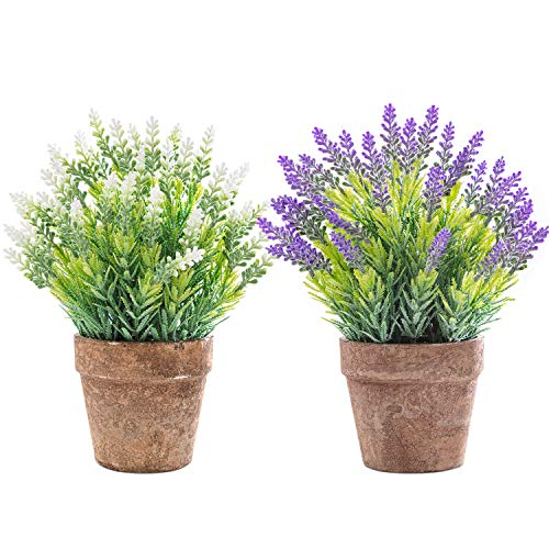 Artificial Lavender Potted Plant 2Pcs Small Fake Flowers Potted for Farmhouse Home Office Restaurant Party Wedding Indoor Decoration