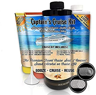 Captain's Cruise Kit With Shampoo & Conditioner Bottle Flasks + 2 Sunscreen Tube Flasks (66oz Total) - Premium Sneak Alcohol On Cruise Set - Rum Runner Take Liquor Booze Anywhere Containers