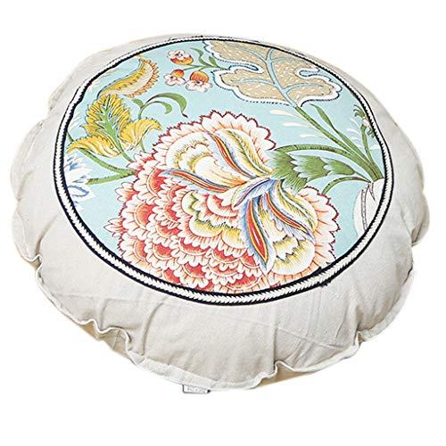 Wusuowei Almohada redonda grande del piso del estilo pastoral de los 55cm, almohada de la ayuda lumbar lavable de la cintura almohada desmontable del rollo de la cama