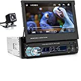 Riloer Autoradio Bluetooth, 1 DIN Car Audio Radio FM Lettore Multimediale Digitale MP5 con Touch Screen Retrattile da 7 Pollici, Telecamera per la Retromarcia, Supporto SD/AUX/TF, Chiamate in Vivavoce
