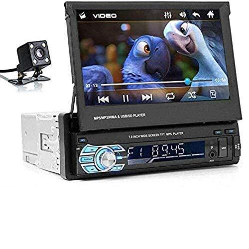 Riloer Autoradio Bluetooth, 1 DIN Car Audio Radio FM Lettore Multimediale Digitale MP5 con Touch Screen Retrattile da 7 Pollici, Telecamera per la Retromarcia, Supporto SD AUX TF, Chiamate in Vivavoce