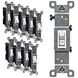 ENERLITES Toggle Light Switch, Single Pole, 15A 120-277V, Grounding Screw, Residential Grade, UL Listed, 88115-W-10PCS, White (10 Pack), 10