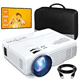 7500 Lumens Mini Projector (100' Screen Included), Supports 1080P and 200'' Display, Portable Movie Projector w/ 50,000 Hrs LED Lamp Life, Compatible with TV Stick, HDMI, VGA, TF, AV and USB