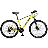 Mens Mountain Bikes, 2021 New 24 Speed Rear Derailleur, 27.5 Inch Aluminum Frame & Wheels Bicycle with Repair Tools and Pumps for Adult Men Women US Stock (Yellow)
