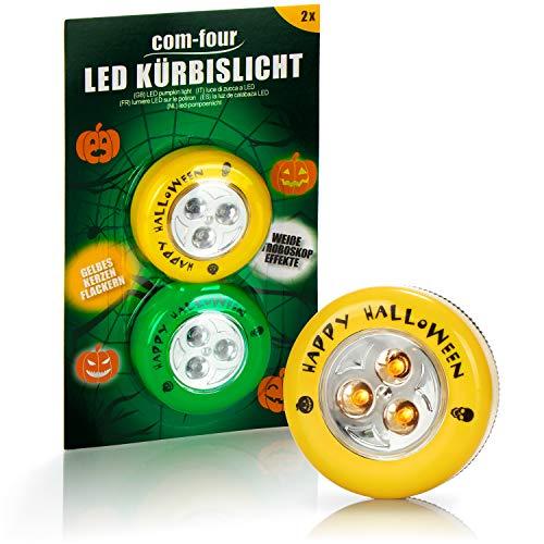 com-four® 2X LED-Licht für Halloween - Blinkende Kürbis LED Lichter für ausgehölte und Geschnitzte Kürbisse - Kürbis-Lampe für Halloween (gelb/grün)