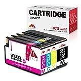 Mony Compatibile Cartuccia d'inchiostro per HP 932XL 933XL (1 Nero, 1 Ciano, 1 Magenta, 1 Giallo) Compatibili con HP Officejet 6600 6700 7610 7612 7110 6100 Stampante