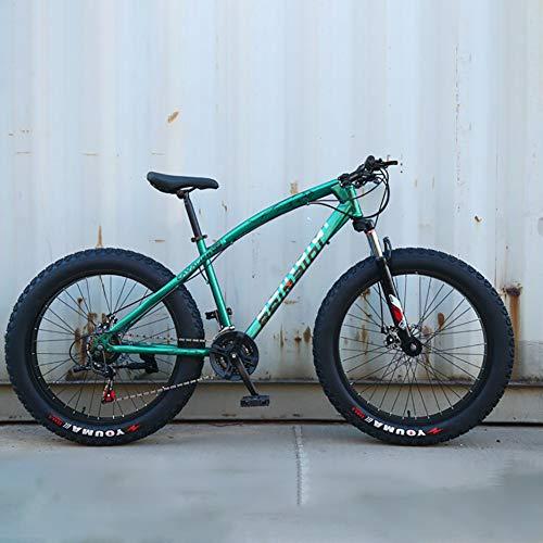 VTT, 7 vitesses Vélo pleine suspension à haute teneur en acier au carbone Hardtail VTT, Mountain Trail VTT Vélo avec suspension avant Siège réglable pour la plage, désert, neige,Vert,7speed 24 inch