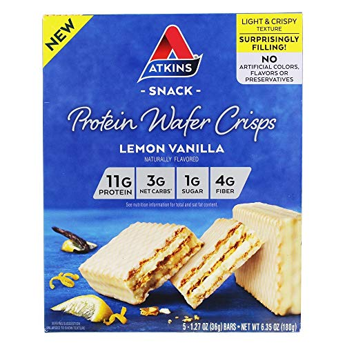 Atkins Lemon Vanilla Protein Wafer Crisps - 5 Bars, Low Carb, No Added Sugar