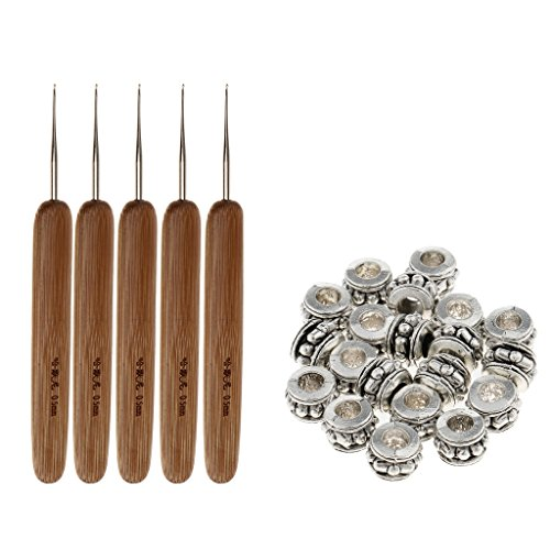 dailymall 20pcs Silver Beads Cuff Tube Hair Rings+ 5pcs Crochet Hooks Bamboo