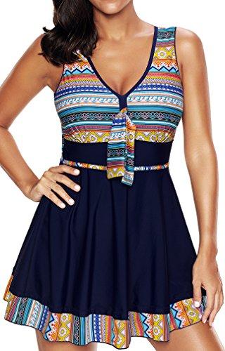 EUDOLAH Damen Paisley Muster Bunt Tankini Figurformender Badekleid mit Röckchen Einteiler Badeshorts A-Marineblau Gr.L