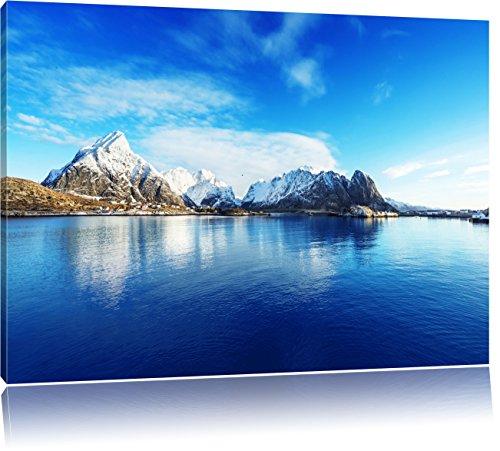 Lofoten in Norwegen, Format: 100x70 auf Leinwand, XXL riesige Bilder fertig gerahmt mit Keilrahmen, Kunstdruck auf Wandbild mit Rahmen, günstiger als Gemälde oder Ölbild, kein Poster oder Plakat