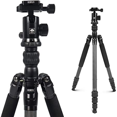 SIRUI Traveler 7C Carbon Fiber Arca Tripod 65.55 inches with 360° Panorama Ball Head and Arca Swiss Quick Release Plate Load Capacity Up to 8kgs