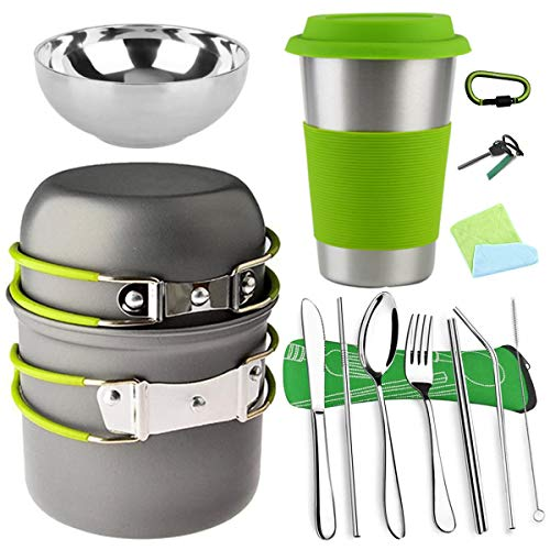 Bisgear 16pcs Camping Cookware Cutlery Mess Kit - Backpacking Pot Pan Utensils with Stainless Steel Cup BowlStraw Knife Fork Chopsticks Cleaning BrushFlatware Set