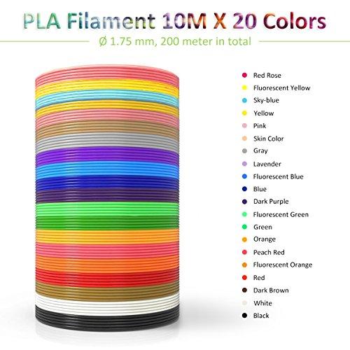 ELEGIANT 20 Stück Ink Filament PLA Filament 3D Stift Filament 1.75MM 10M 3D Print Filament 3D Printing Pen Supplies PLA Material 20 Farben Set für 3D Drucker Stift 3D Pen Kinder - 2