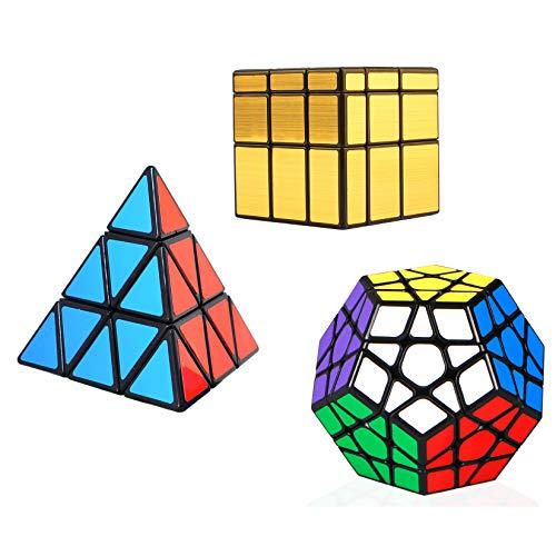TOYESS Cubo Mágico Pack ,Pyraminx Piramide Triangolo Speed Cube ,Megaminx Dodecaedron,Gold Mirror Cube 3x3x3 Rompecabezas Cubo de Velocidad Cajas de Regalo Set para Adulto Niños,Negro