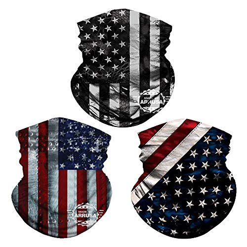 ARRUSA American Flag Fashion Neck Gaiter, Washable Cooling Face Mask, Anti Dust&Sun Reusable Face Scarf for Men,Women and Kids(3pcs-Black)