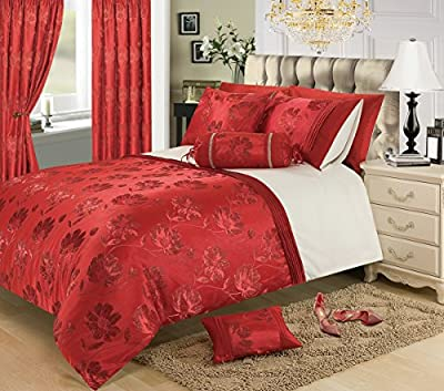 """66"""" x 72"""" Red Jacquard Eyelet Ringtop Curtains Fully Lined Ready Made- Panache"""