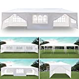 Soniker 10' x 30' Outdoor Canopy Tent White Waterproof Camping Gazebo Storage Shelter Pavilion Cater for Party Wedding Events BBQ (10x30ft, 8 Removable Sidewalls Included 2 Doors)