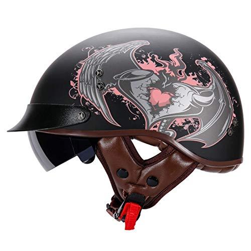 ACEMIC Medio casco de motocicleta retro adulto, aprobado por DOT, hombre y mujer, personalidad de moda, casco de media cara, crucero, scooter eléctrico, helicóptero, ciclomotor