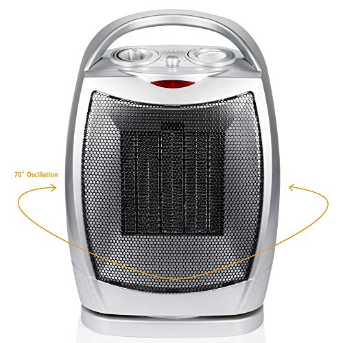 Brightown Space Heater ETL Listed Oscillating Quiet Ceramic Heater with Adjustable Thermostat, Portable Electric Heater Fan with Overheat Protection and Carrying Handle, 750W/1500W