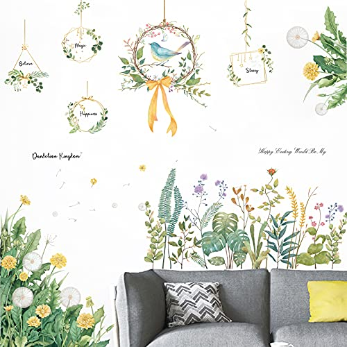 Suprosper ウォールステッカー おしゃれ 植物 花 鳥 北欧 30*90cm 4枚 タンポポ 剥がせる ポスター インテリア 壁紙 ステッカー 壁飾り (花 鳥)