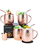 Moscow Mule Copper Mugs Set of 4, esonmus Handcrafted Food Safe Copper Cups for Moscow Mule Cocktail, 16 oz Gift Set with BONUS 1 Shot Glass 4 Straws and 4 Coasters