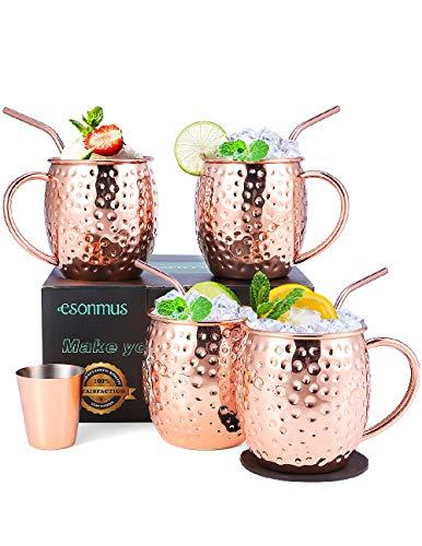 Tazza Moscow Mule, esonmus Set di Bicchieri di Rame Fatto a Mano con 4 x Tazze & Sottobicchieri & Cannucce per Cocktail, 1 x Misurino per Gin, Boccali per Birra, Regalo