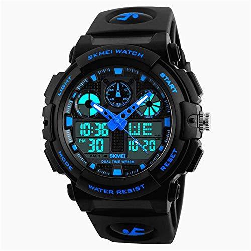 Reloj de Pulsera analógico Militar Impermeable de 50 m con Alarma, Reloj Deportivo Digital para Hombre, Reloj Deportivo con luz LED para Hombre