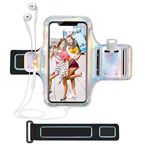 Mpow Cell Phone Armband Case, Shiny Sports Running Armband for iPhone 11 Pro/11/XR/8/7, Galaxy S10/S9/S8 Up to 6.1'', Sweat-Proof Phone Armband for Running, Gym, Workouts (Extension Strap Included)