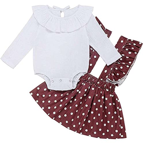 junmo shop Conjunto de 2 piezas para recién nacidos de manga larga con volantes y falda de lunares
