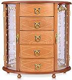 AGWa Joyero de madera, estuches de almacenamiento de terciopelo vintage de múltiples pisos, con organizador de 5 cajones y carrusel de collar incorporado, regalo de cumpleaños para niñas