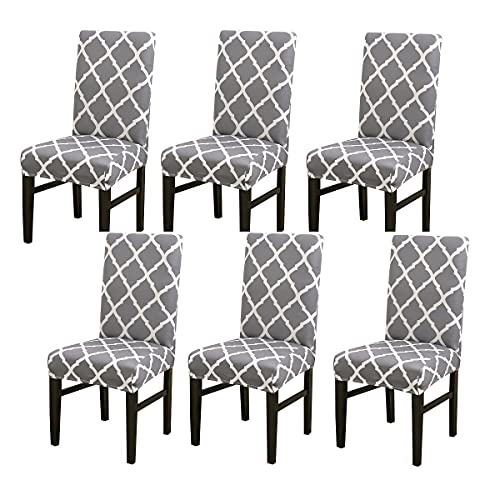 Dining Chair Cover Seat Protector Super Fit Slipcover Stretch Removable Washable Soft Spandex Fabric for Home Hotel Dining Room Ceremony Banquet Wedding Party Restaurant (A-Grey, 6 Per Set)