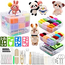 Needle Felting Kit 109 Pieces Set, Wool Roving 36 Colors with Complete Felt Tools and Storage Box Needle Felting Starter Kit for DIY Craft Animal Home Decoration Birthday Gift
