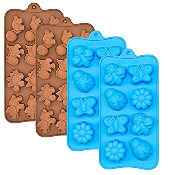 Silicone Chocolate Candy Molds Non-stick Animal Silicone Baking Mold Making Kit - BPA Free Forest Theme with Different Animals including Dinosaurs Butterfly and Flower Set of 4