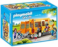 Explore the everyday: PLAYMOBIL School van playset with five figures, wheelchair ramp and many accessories for accurate role-play Space for five figurines and one wheelchair, removable roof, fold-out ramp, side sliding door, etc., can be combined wit...