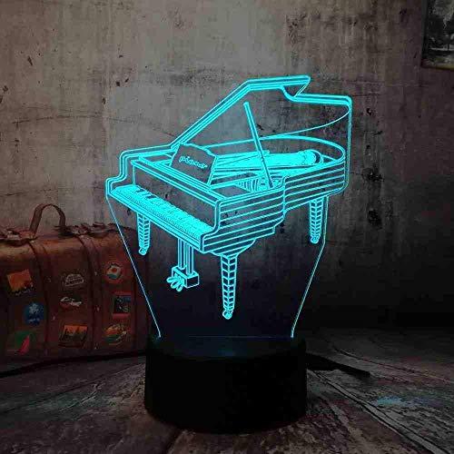 Amroe Romantic 3D Led Piano Night Light 7 Color Change Wireless Flashlight Children's Bedroom Home Decor for Christmas Kid Gift