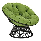 OSP Home Furnishings Papasan Chair with 360-degree Swivel, Green cushion and Black Frame
