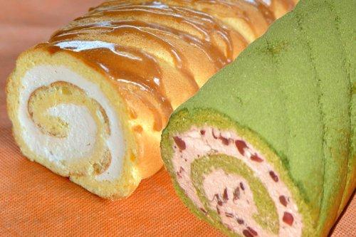「茶句庭ながの」 ロールケーキお得な2本セット 抹茶ロールケーキ 1本(23cm) 生キャラメル 1本(23cm)