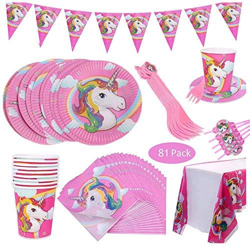 Suministros de Decoraciones de Fiesta de Unicornio -WENTS 10 personas Rosa Desechable Plato Servilletas Taza Paja Mantel para Niños Niña Boda Accesorio de Decoración de Fiesta de Cumpleaños 81 Piezas