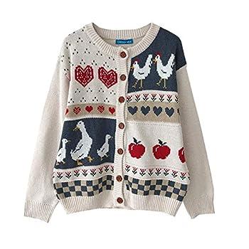 Women Vintage Casual Loose Sweaters Love Pattern Cardigan Japanese Kawaii Ulzzang Female Korean Harajuku Clothing  White Pattern OneSize