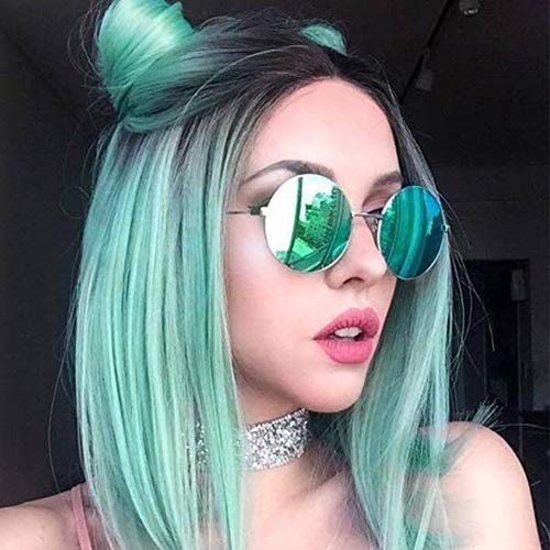 Quick Wig Ombre Wigs Mint Green Short Straight Synthetic Wigs Dark Roots Middle Part Heat Resistant Cosplay Party Full Wigs for Women