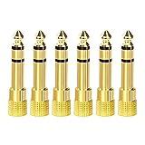 VCE 6 Unidades Adaptador de Audio Jack 6.35 a 3.5mm, Convertidor de Jack a Mini Jack 6.35mm a 3.5mm Macho a Hembra para Auriculares,Altavoces, Amplificador,Mezclador de Audio