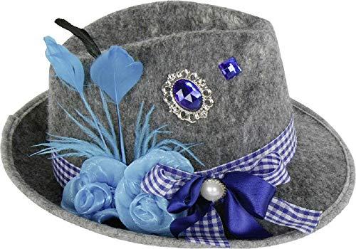 Home Collection Filzhut Oktoberfest Damen Hut blau Bayern mit Feder Schleife Brosche und Blume Filz Biergarten Party Wiesn L:30xB:26xH:11cm