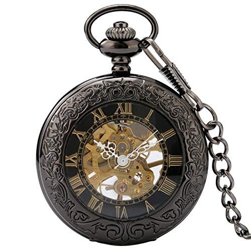 ZHAOXIANGXIANG Retro Taschenuhr,Männer antike Schwarze transparente Glasvitrine römische Zahlen Skelett Taschenuhr mechanische Handaufzug Vintage Uhren Geschenk