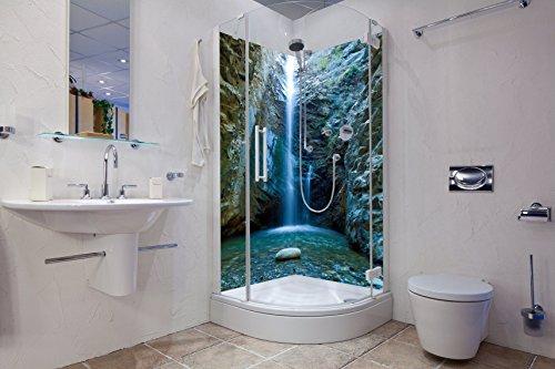 Eck Duschrückwand bestehend aus 2 Segmenten aus Aluverbund und Dekor Wasserfall Blau (210cm x 100cm x 3mm)